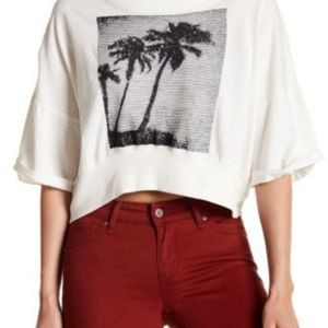 Free People Surfs Up Cropped Graphic Tee Top